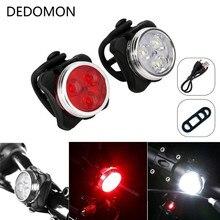 4 режима USB Перезаряжаемый велосипедный светильник 3 светодиодный головной передний задний фонарь с клипсой Аксессуары для велосипеда