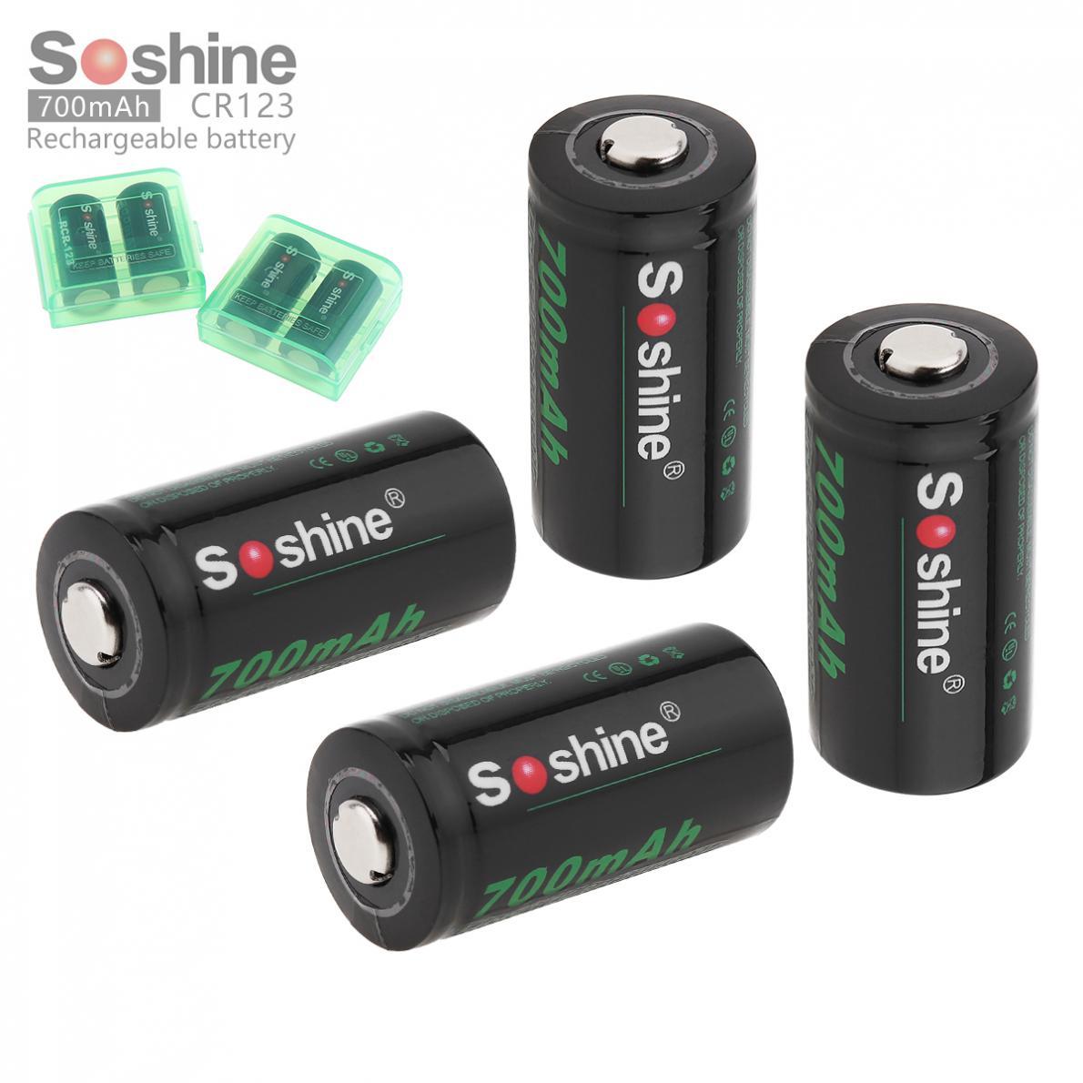 4pcs Soshine RCR 123 16340 700mAh Bateria Recarregável de Li-ion com 2pcs Caixa de Armazenamento Da Bateria para Lanternas Faróis