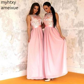 2019 Blush Pink Plus Size Prom Dresses Jewel Neck Venica Lace Top Chiffon Skirt Long Country Maid Of Honor Wedding Formal Party
