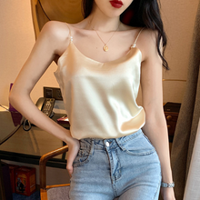 Silk Top Women Summer Women V Neck Satin Tops Plus Size Sexy Cami Top Woman Korean Woman Beading Vest Tees 2XL Strap Tops Female