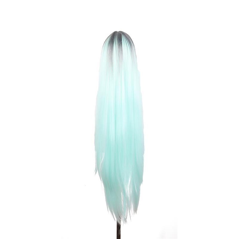 WoodFestival ombre green wig long wig straight synthetic wigs for women heat resistant wigs ombre