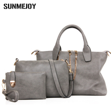 SUNMEJOY 3Pcs Set retro Handbag Women Messenger Bag women Purse Solid Shoulder Bags Office Lady Casual