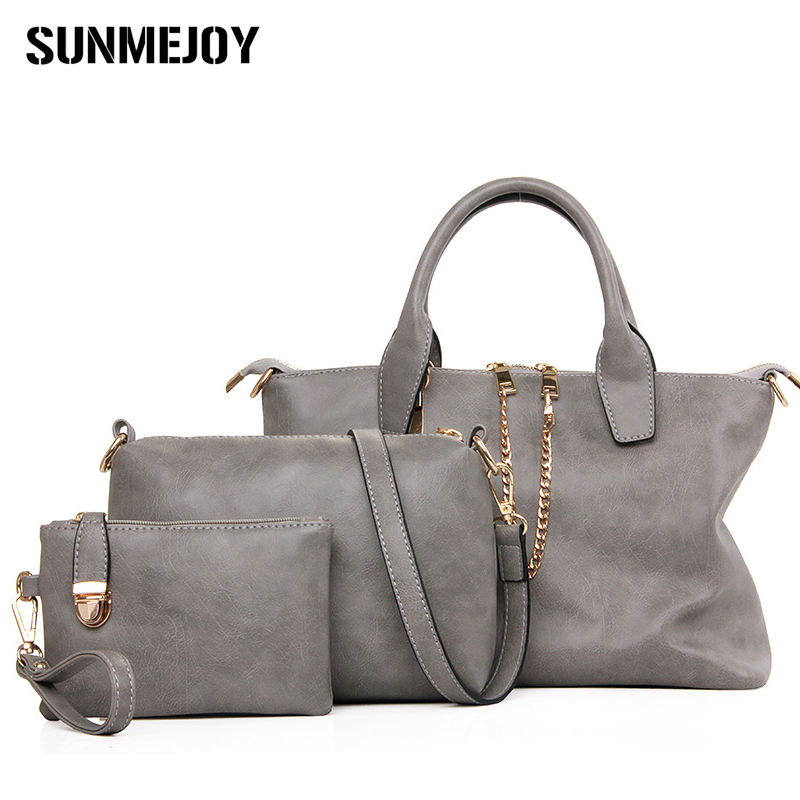 SUNMEJOY 3Pcs font b Set b font retro font b Handbag b font Women Messenger Bag