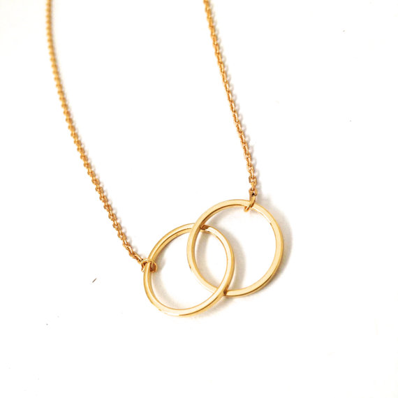 Ztang LVP0 S925 sterling Silver Infinity Double Circles Necklace for Girls Interlocking Circles Pendant Necklace stylish 7 hollow stereo circles pendant necklace