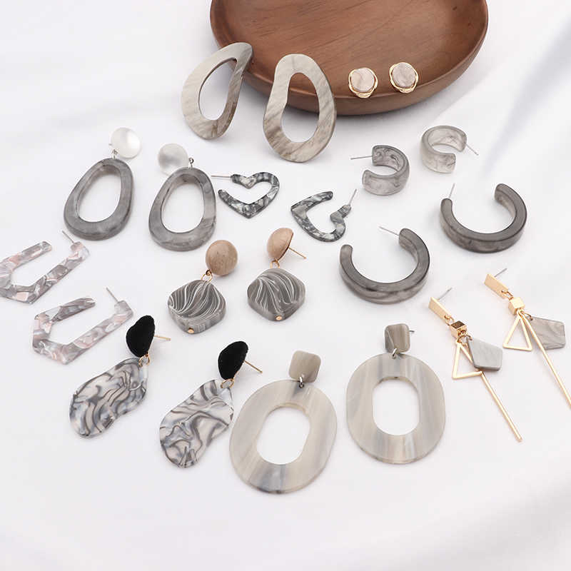 MENGJIQIAO 2019 New Irregular Geometric Round Grey Acrylic Statement Long Drop Earrings Acetic Acid Resin Earrings for Women