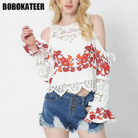 BOBOKATEER Ladies Lace Embroidery Blouse Women Shirts Off Shoulder Long Sleeve Womens Tops And Blouses Blusas