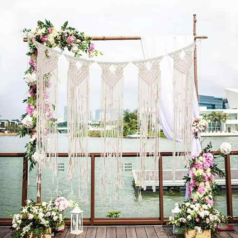 diy bohemian rustic wedding macrame curtains wall photo backdrop handmade cotton summer wedding engagement party decoration