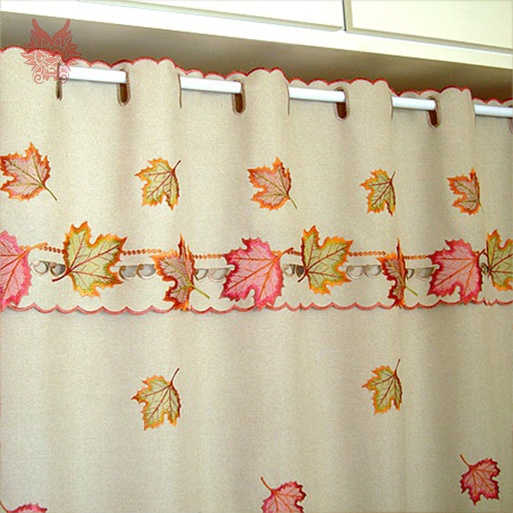 American style brown with leaves embroidery half curtain bay window ...