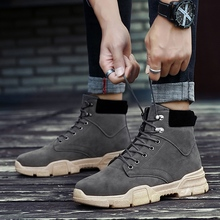 Safety Shoes Mens Work Boots High Quality Desert Men Black Gray Indestructible Thick Sole Casual Footwear