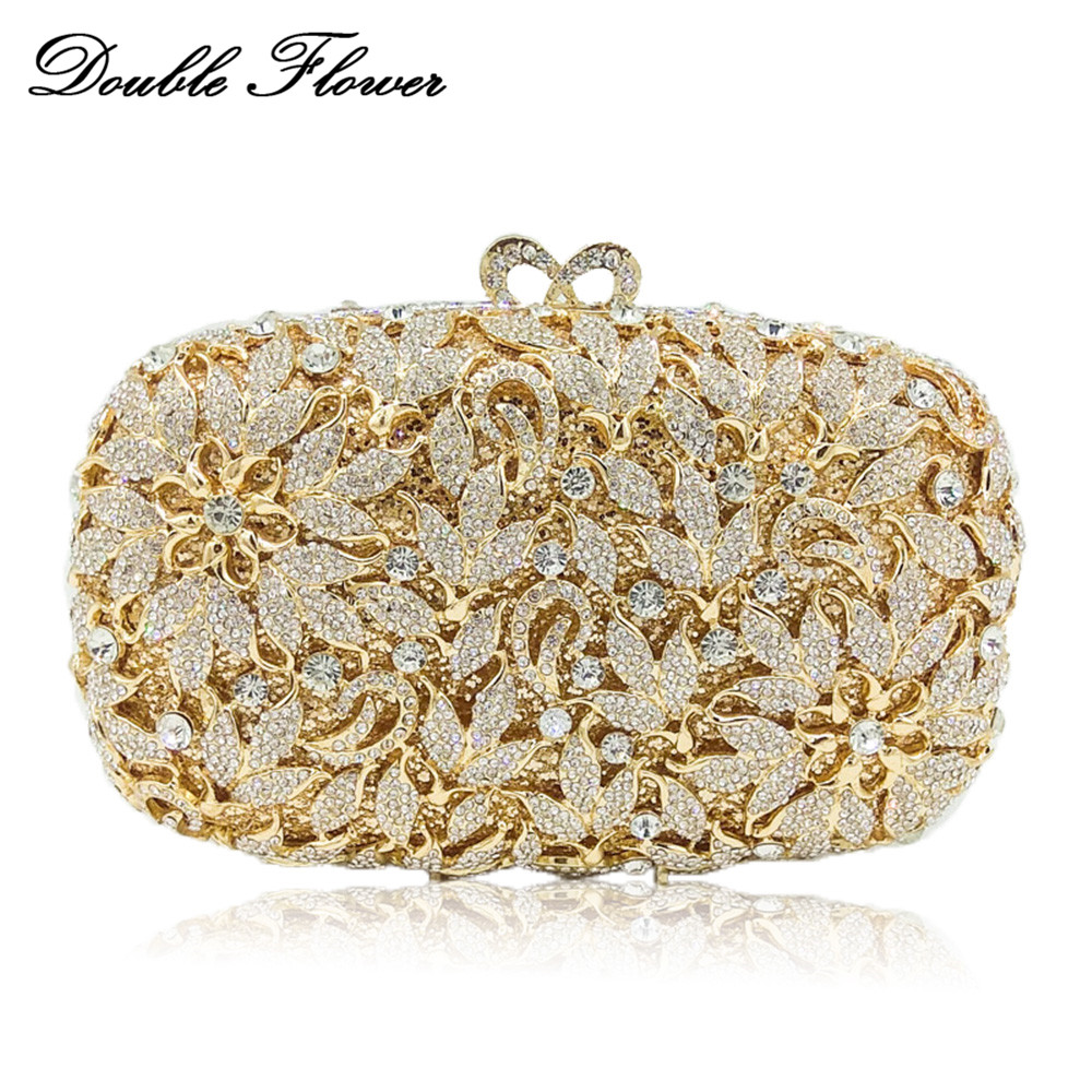 Double Flower Dazzling Hollow Out Women Flower Clutch Crystal Evening Handbags Wedding Bag Bridal Floral Purse Party Clutch Bag double flower hollow out sparkling dazzling crystal women gold evening clutch bags wedding party bridal diamond handbag purse