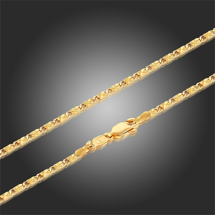 Yellow Gold Color Carved Tile Chain Necklaces For Pendants Ps