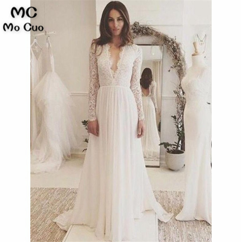 2019 Lace Wedding Dresses Long Vestidos De Noiva Deep V-Neck  Wedding Dress Long Sleeve Chiffon Sweep TrainWedding Gowns