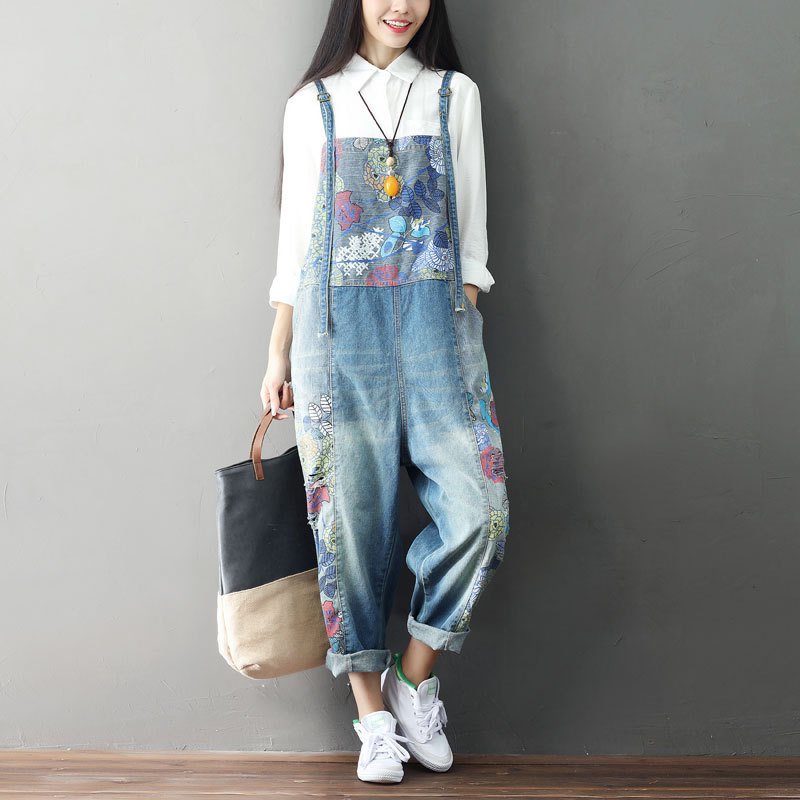 Johnature New Casual Denim Full Length   Jumpsuits   2018 Summer Loose Patchwork Vintage Print 2 Colors Women   Jumpsuits