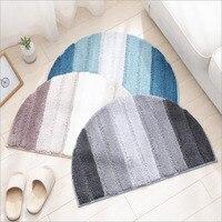 Half Circle Soft Shaggy Microfiber Shower Bath Rug Blue Gray Striped Non slip Durable Area Rug Absorbent Bedroom Carpet Door Mat