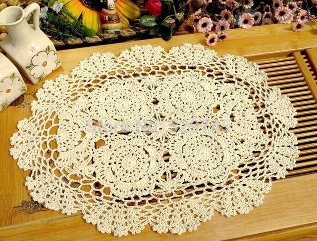 Pastoralen handgemachte häkelarbeit blumen oval Tischset Baumwolle ...