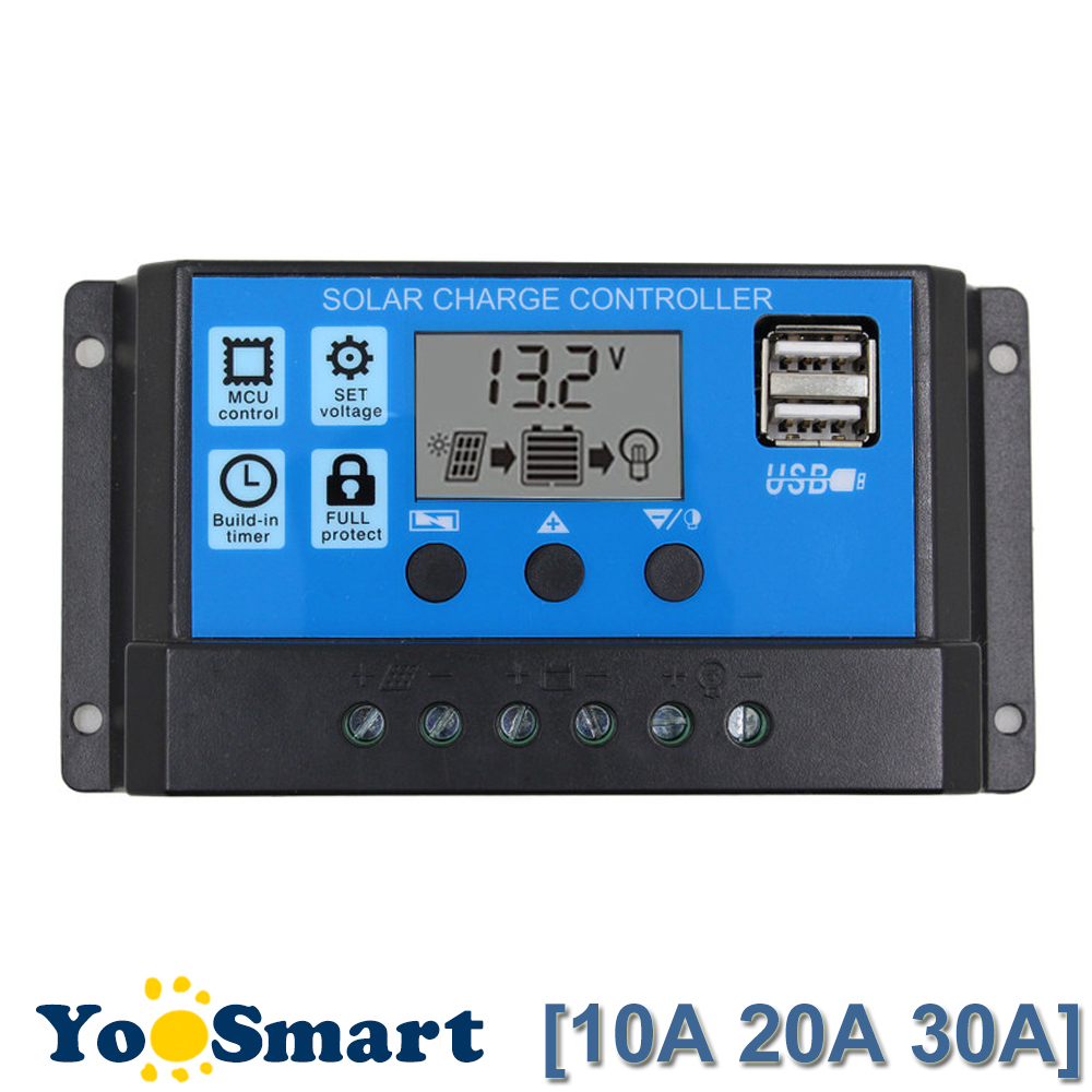 Controlador de carga Solar 30A/20A/10A 12 V 24 V Auto work PWM con LCD Dual USB V 5 V salida Panel Solar cargador regulador PV hogar