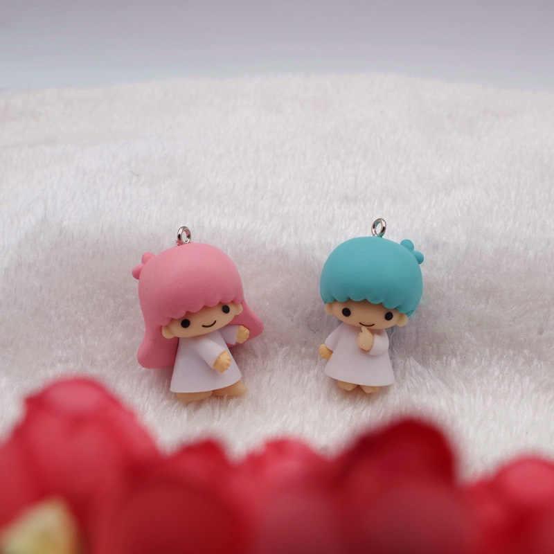 6 pçs/lote bonito pequenas estrelas gêmeas chaveiro de vinil pequenas bonecas chave saco pingentes chaveiro mini anime dos desenhos animados da menina boneca figura brinquedo