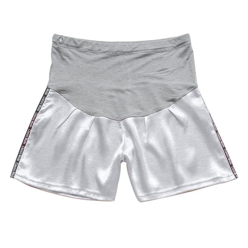 Женские короткие штаны для беременных с беременным шорты, повседневные однотонные штаны с высокой талией для беременных# p40US - Цвет: Белый