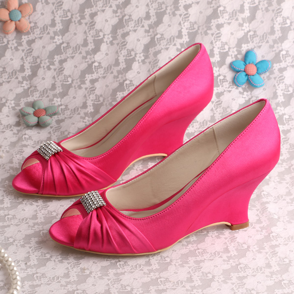 f0c1b2b9f07b (20Colors)Custom Handmade Peep Toe Wedge Heel Bridal Shoes Wedding Rose Pink