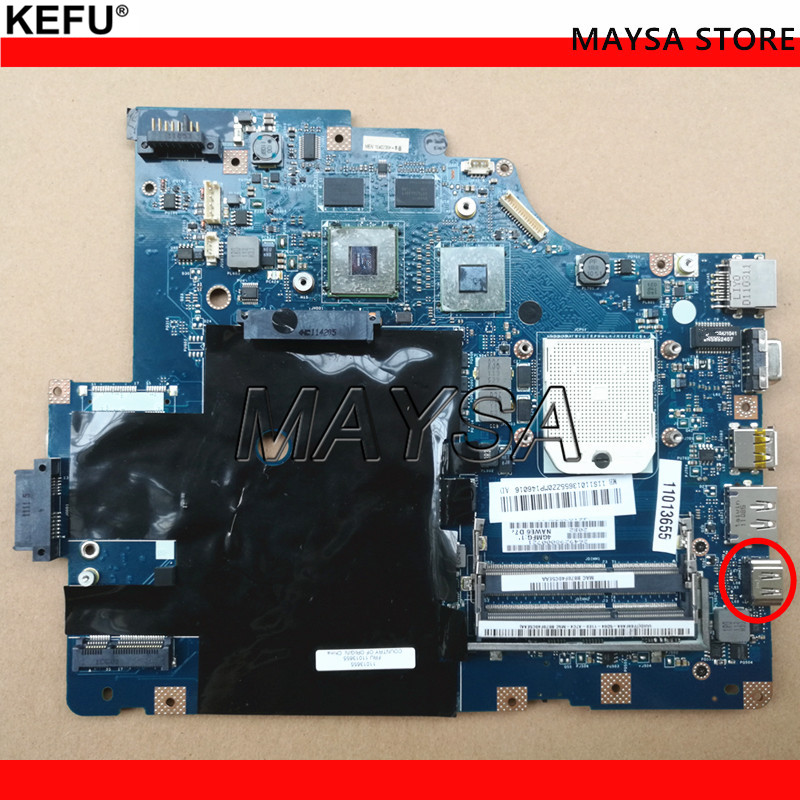 KEFU original For Lenovo G565 Z565 Laptop motherboard LA-5754P with Video card Good working sheli laptop motherboard for lenovo g565 z565 la 5754p no hd interface with 4 video chips non integrated graphics card rev 2 0