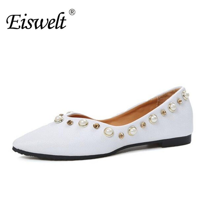 Eiswelt Shoes Spring Summer Fashion Rivet Flats Party Pointed Flock Women Shoes Wedding Shoes Glitter Flat Ladies Shoes#ZJF84 new 2017 spring summer women shoes pointed toe high quality brand fashion womens flats ladies plus size 41 sweet flock t179