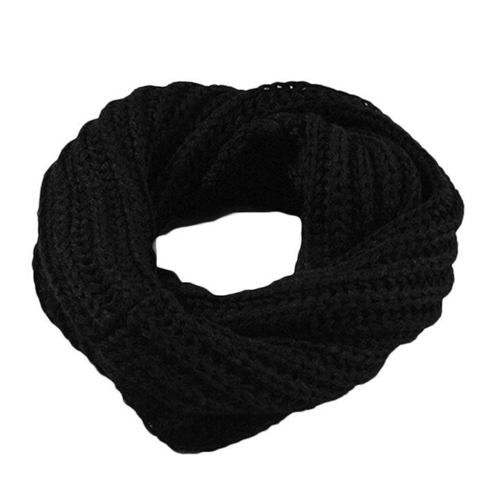 Осенне-зимний вязаный шерстяной шарф-шаль для мальчиков и девочек, теплый зимний шарф с воротником, Прямая поставка - Цвет: Black