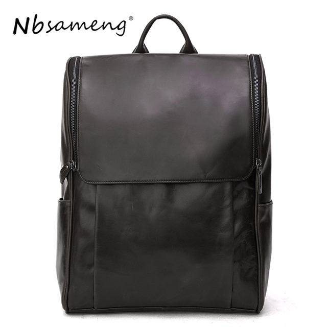 NBSAMENG 100% Genuine Cowhide Leather Backpack Men Travel Bags Shoulder Bag Large Rucksack School Laptop Bags swdvogan new travel backpack korean women rucksack pocket genuine leather men shoulder bags student school bag soft backpacks