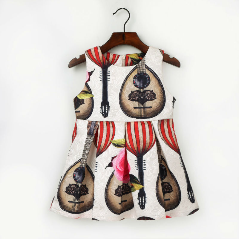 2-7Y Fashion Violin Pattern Dress For Girls Cute Flower O neck Pleated A Line Dresses 2017 New Style Children Cotton Clothes new kids girls fashion o neck sleeveless dress cute animals print dress girls a line dress clear