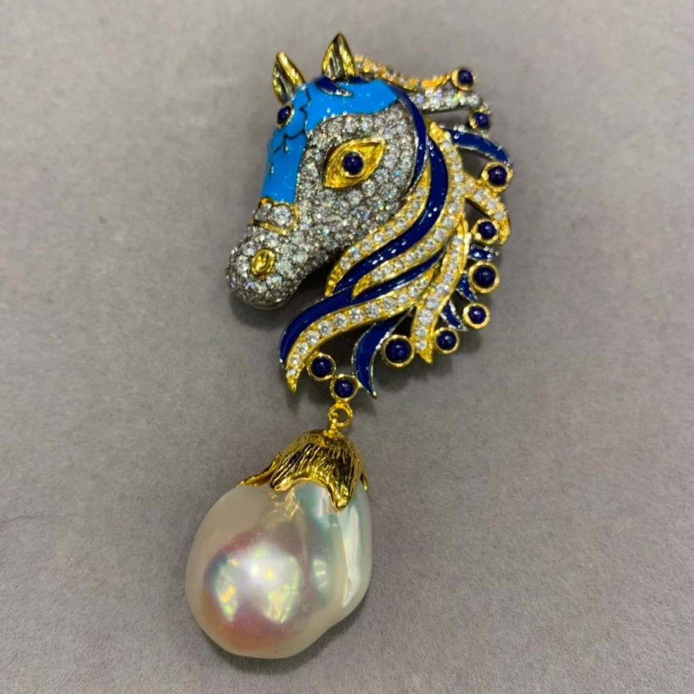 Baroque naturel eau douce perle broche & pendentif double usage bleu couleur cheval 925 sterling argent seulement 1 pièce bijoux de mode