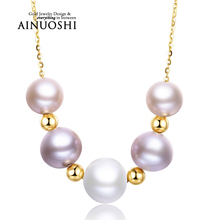 Hot Selling 18k Solid Yellow Gold Natural Freshwater Pearl Necklace New Design of Pearl Gold Jewelry Chain for Women Wedding
