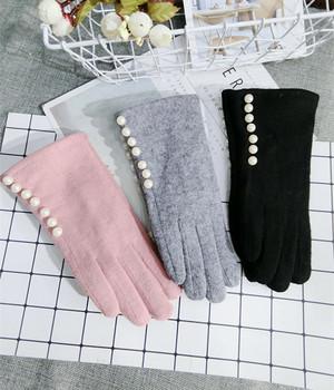 Markowe rękawiczki zimowe rękawiczki damskie kaszmirowe rękawiczki damskie perłowe ciepłe rękawiczki wełniane damskie rękawiczki do jazdy tanie i dobre opinie Kobiety Dla dorosłych Moda Stałe Kaszmiru Wełna 10263 Nadgarstek MONIQUE ORENDA Black pink gray Free size Cashmere Wool