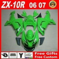 7 подарки кузова комплект для 06 07 Kawasaki ZX10R зеленый черный factory outlet 2006 2007 ninja ZX 10R обтекатели обтекателя комплекты 7 подарки GHB85