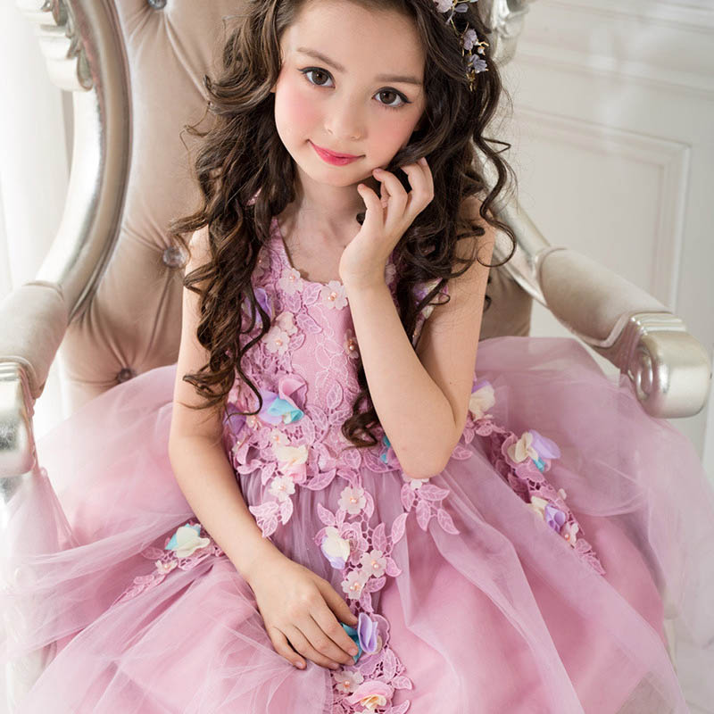 Girls Dress Sleeveless Purple Color Baby Girls Princess Dress Teenager Kids Dresses Girls Clothes Children Birthday Costumes kacakid spring new children s sweet girls dresses baby girls dress knitted suspenders baby sleeveless dress