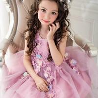 Girls Dress Sleeveless Purple Color Baby Girls Princess Dress Teenager Kids Dresses Girls Clothes Children Birthday