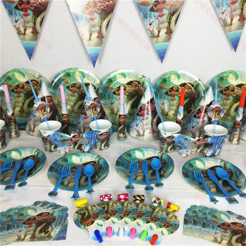 Ocean Sea Cartoon Moana Tableware Set Disposable Tablecloth Gift Bag Birthday Party Events Decoration Kids Favors Tablecover