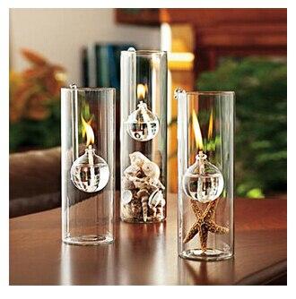 Creatieve transparant glas cilinder haak lamp huwelijk plaats van een kaars