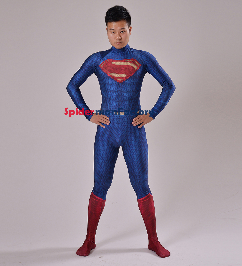 2016 Man of Steel Superman Costume Print Spandex Cool Superman Bodysuit Male Superhero Costume With Cape Custom Style Available