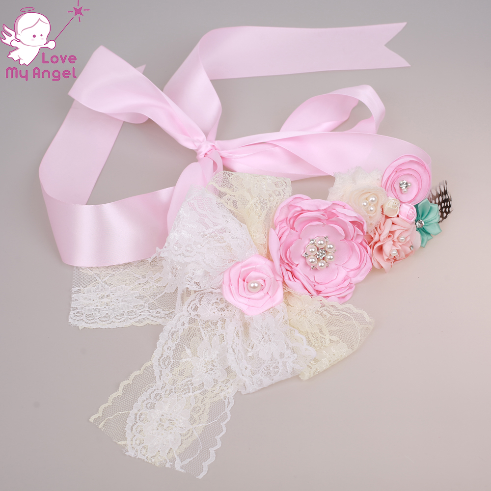 1pcs Pink floral girl sash Belly to birth baby sash wedding gown sash  bridesmaids flower girl ribbon belt Maternity sash-in Belts   Cummerbunds  from Mother ... 64d75f6e8a53