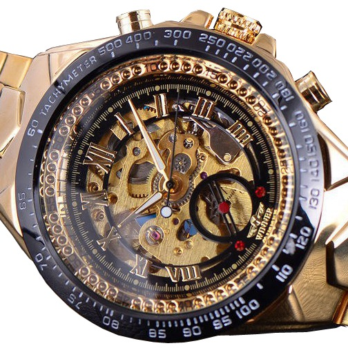 Men Gold Watches Stainless Steel Band Automatic Mechanical Watch Male Skeleton Wristwatch Sports Desig