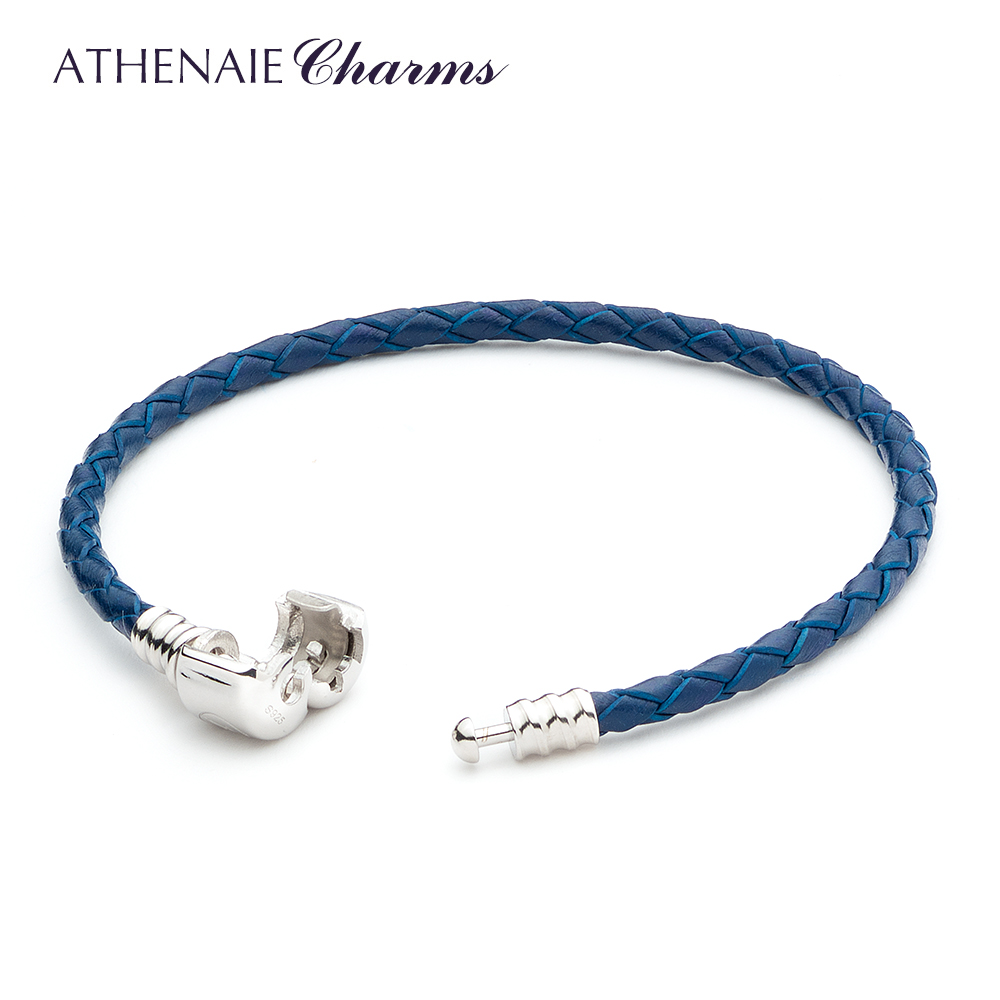 ATHENAIE Green Single Braided Leather 925 Sterling Silver Charm Bracelet Fits Fit All European Charm Bead FG0GdZzT