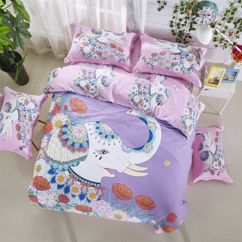 Cute Elephant Printed Bedding Sets Bedspreads Cotton Bed