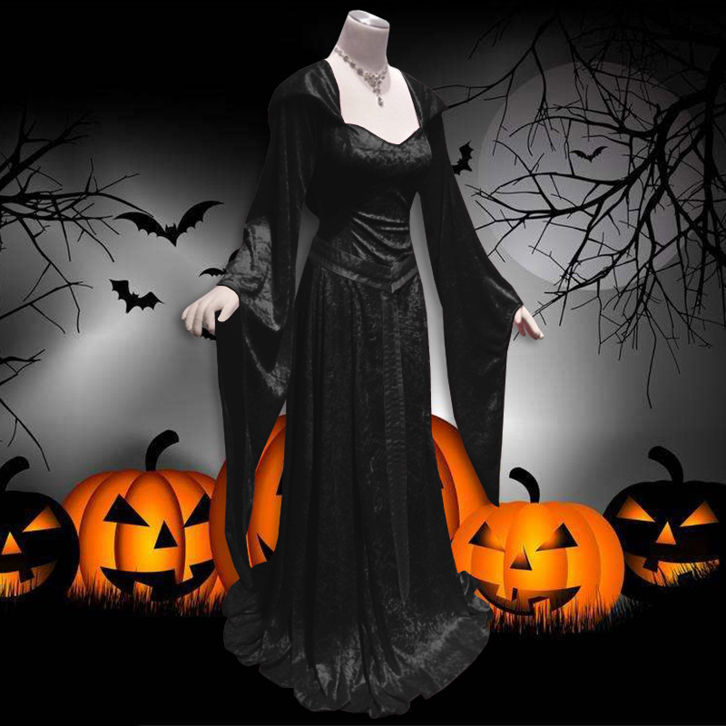 Medieval Vintage Celtic Dress Long Sleeve Suqare Collar Hooded Floor Length Renaissance Gothic Dress Cosplay Halloween Costume