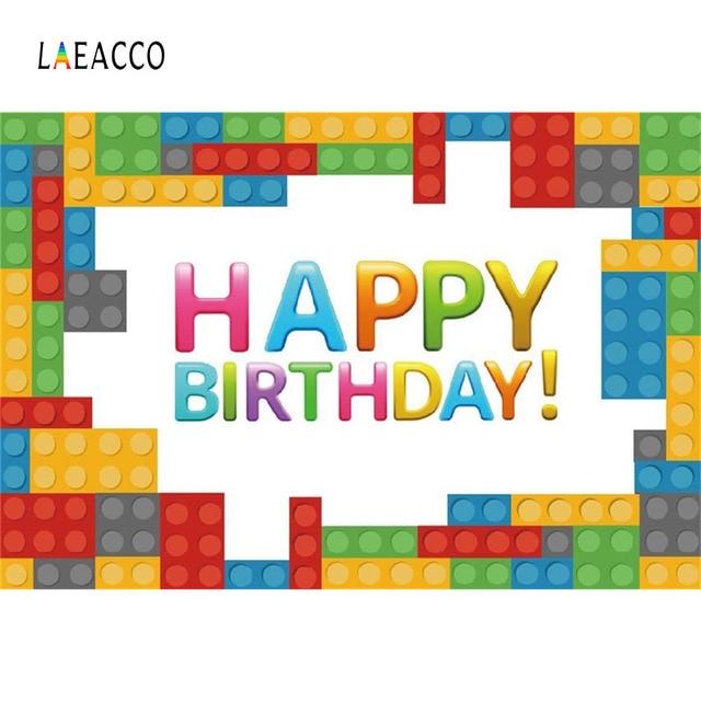 Laeacco Cartoon Colorful Lego Baby Birthday Party Photography