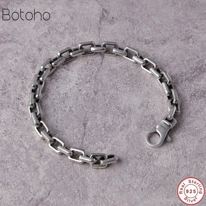 Nouveau luxe 925 en argent Sterling Bracelets homme haut polonais gourmette lien chaîne Bracelet pour hommes Vintage Punk Rock Biker hommes bijoux