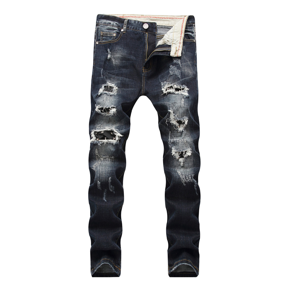 2018 Dropshipping Mens Retro Ripped Patchwork Jeans Men Black Skinny Distress Rivet Straight fit Hole Denim Pants for Male