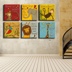 Image 1 - Canvas Prints Oil Painting 6 Pieces/set Modern Cartoon Animals Wall Pictures Kids Room Wall Decor No Frame Posters