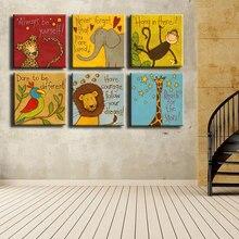 Leinwand Drucke Ölgemälde 6 teile/los Moderne Cartoon Tiere Wand Bilder Kinder Zimmer Wand Dekor Keine Rahmen Poster