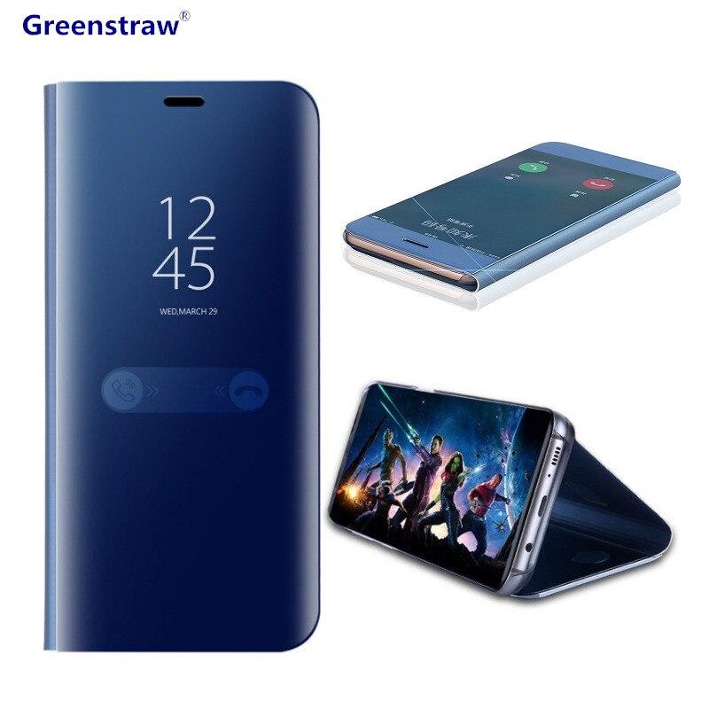 Pour Samsung Galaxy Note 8 S8 S7 S6 bord Cas De Luxe Flip Stand Clear View Smart Miroir Cas de Téléphone Pour iPhone X 7 8 6 S Plus couverture