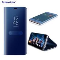 Voor Samsung Galaxy Note 8 S8 S7 S6 rand Case Luxe Flip Stand Clear View Smart Spiegel Telefoon Case Voor iPhone X 7 8 6 S Plus Cover