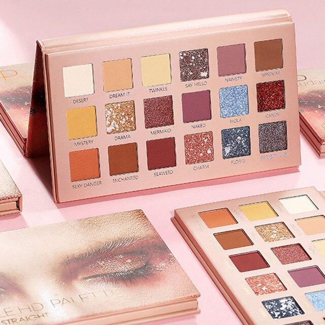 Paleta de sombra de ojos de 18 colores brillante mate suave larga duración conjunto de sombra de ojos HS11